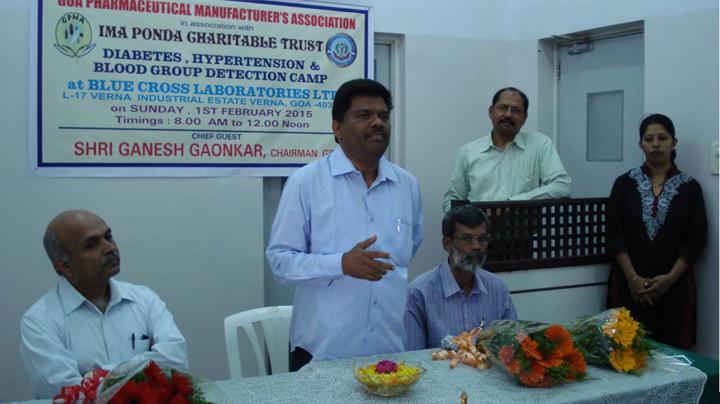 Shri. Ganesh Gaonkar, Chairman GIDC addressing along with Shri. Suresh Kamath, President GPMA (left) and Dr. Dattaram Desai IMA – President (right)